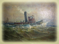 Painting of Tugboat by Charles Appel, $4577.00